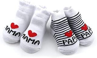 calcetines de algodón de bebé I Love Mama + te amo PaPa niños bebés recién nacidos niñas calcetines - 2 pares