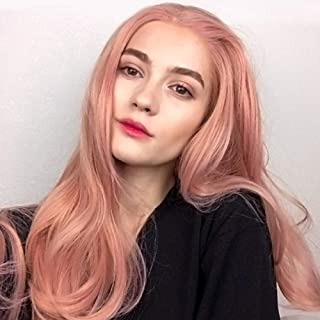Lace Front Wigs Long Wavy Hair Wigs High Temperature Silk Natural Realistic Wig for Women 150% Density Wigs- Pink