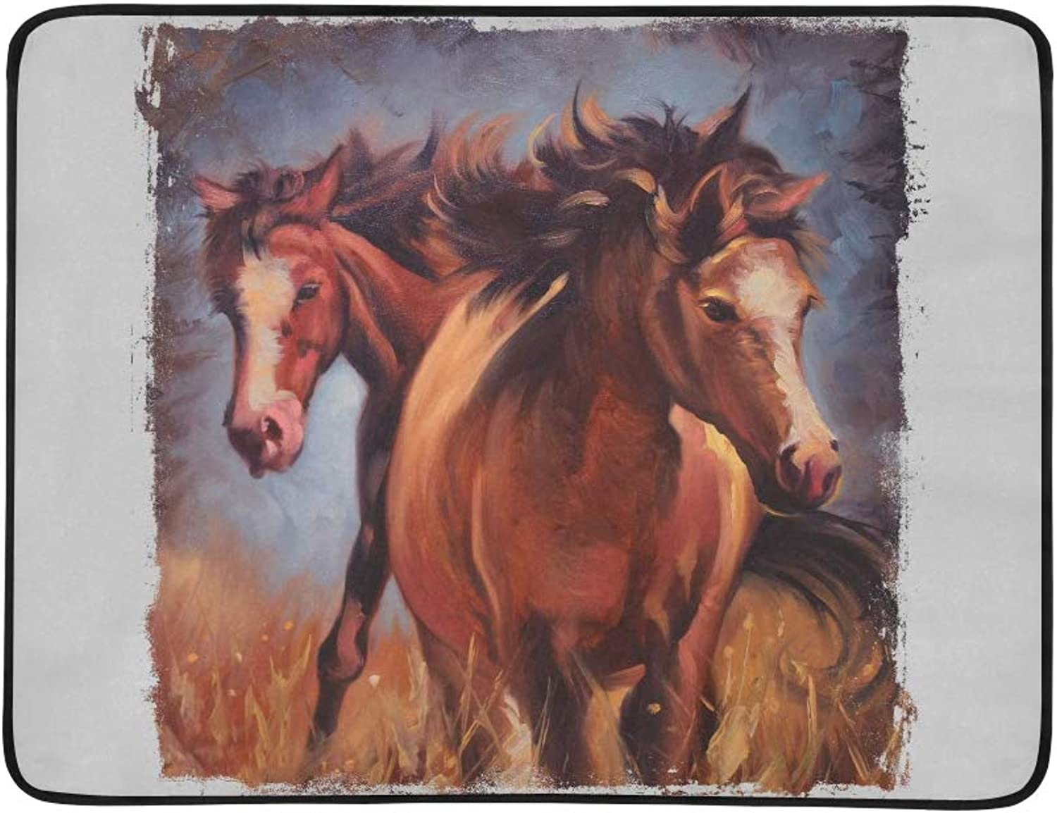 Two Horses Vintage Painting Torn Edges Pattern Portable and Foldable Blanket Mat 60x78 Inch Handy Mat for Camping Picnic Beach Indoor Outdoor Travel