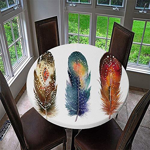 Chickwin Mantel Antimanchas Redondo, Mantel de Mesa Impermeable Diseño de Borde Elástico con Estampado 3D Creativo Mantel Redondo para Comedor, Cocina y Picnic (Pluma Tres,90cm)