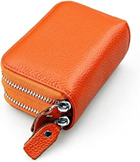 Ladies Wallet RFID Protection Unisex Leather Bovine Leather Wallet (Color : Orange, Size : One Size)