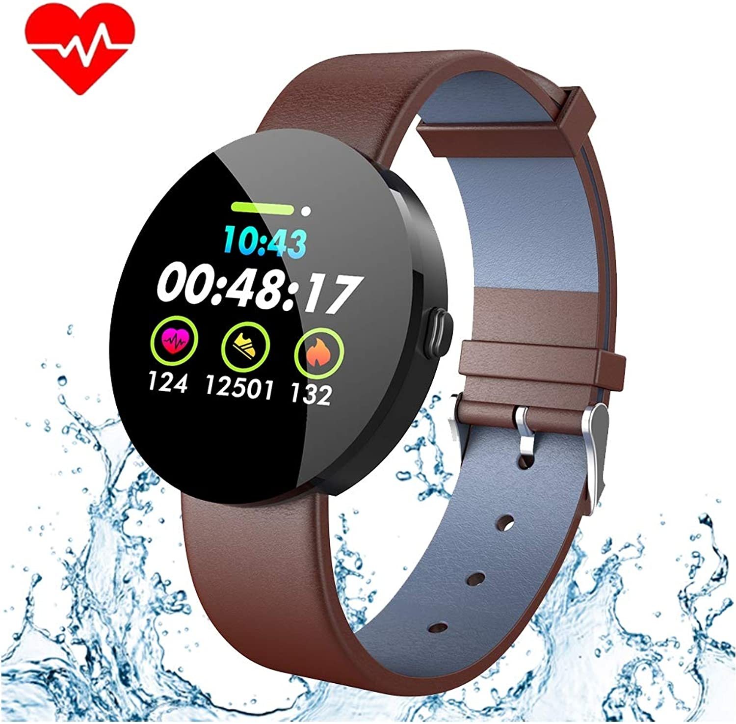 color Screen Activity Fitness Tracker, IP67 Waterproof Step Calorie Counter Pedometer Watch,Heart Rate Sleep Monitor blueeetooth Smart for Android iOS Christmas Thanksgiving Gifts