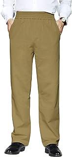 IDEALSANXUN Men's Elastic Waist Denim Solid Casual Pants