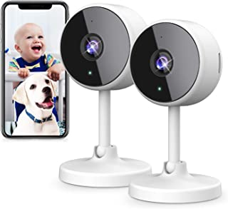 DJHH Indoor Security Camera, 2 Pack HD 1080p 2.4GHz Pet Camera for Home Security WiFi Surveillance Baby Monitor Camera wit...