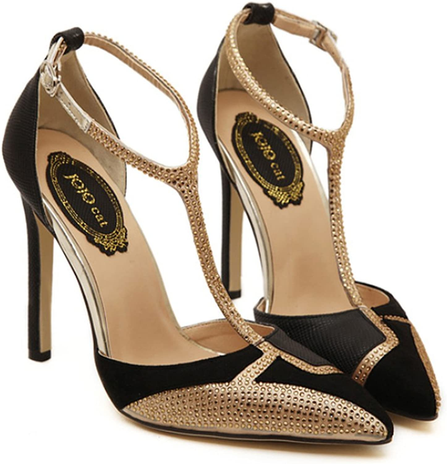 Rhinestone Chromatic color Pointed High Heel shoes Sandals black 39