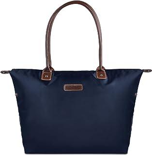 NOTAG Nylon Shopper, Wasserdicht Damen Handtasche Reise Schultertasche für Einkaufen Strand (Blau)