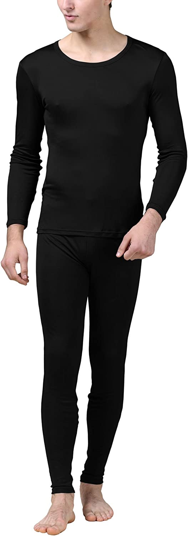 Pure Silk Knit Round Neck Men Underwear Long Johns Set