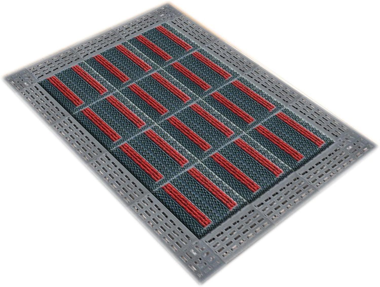 Plastic Hollow Anti-Skid mat Door Door dust Floor mats (color   Red, Size   90  90cm)