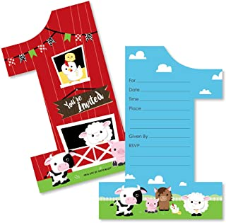 1st Birthday Farm Animals - Shaped Fill-in Invitations - Barnyard First Birthday Party Invitation Cards with Envelopes - Set of 12