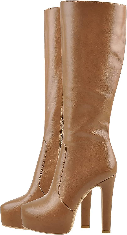 PINOKISS Women's Round Toe Zip Up High Heel Under the Knee Boots