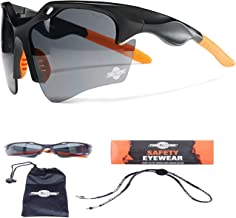 ToolFreak Finisher Work and Sport Safety Glasses Dark Smoke Tinted UV and Impact Protection, Anti Glare with Fog and Scratch Reduction