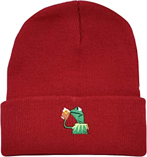 45843851eb833 Winter Kermit The Frog Sipping Tea Beanie Warm Comfortable Soft Oversized  Thick Cable Knitted Hat Unisex