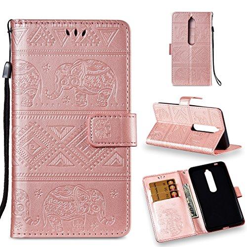 LMFULM® Hülle für Nokia 6.1 / Nokia 6 2018 (5,5 Zoll) PU Leder Magnet Brieftasche Lederhülle Elefant Prägung Design Stent-Funktion Handyhülle für Nokia 6.1 / Nokia 6 2018 Rosa
