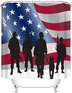 Fangkun Shower Curtain Art Bathroom Decor - American Soldiers and Military Dogs in United States Flag Pattern Waterproof Polyester Fabric Bath Curtains Set - 12pcs Shower Hooks - 72 x 72 inches
