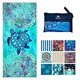 Microfiber Beach Towel for Travel - Oversized XL 78x35Inch Sea Turtle Quick Drying, Lightweight, Fast Dry Towels, Sand Free (Sea Turtle, Extra Large (78X35-INCH))