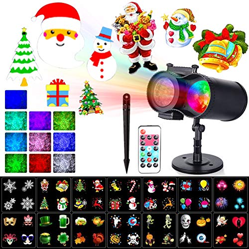 Xmas Decorations Clearance Outdoor Projector Lights with Color Changing Nebula Waterproof for House/Xmas/Party/Holiday - 16 Patterns & 10 Color Ocean Waves