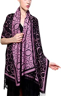 LY-VV Women's Blanket Scarf Printing Pattern Warm Soft Long Wrap Shawl Scarves with Tassels