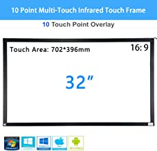PIE 32 inch 10 Point Multi-Touch Infrared Touch Frame, IR Touch Panel 16: 9, Infrared Touch Screen Overlay with USB Interface for LCD/LED TV Display, Presentation, Kiosk, Exhibitions, Whiteboard