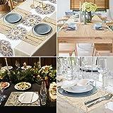 4er Set PVC Platzset, Abwaschbar Tischsets, rutschfeste Platzsets, Gold Tischsets, Platzdeckchen Gold für Weihnachten Party Küche Zuhause Speisetisch - 7