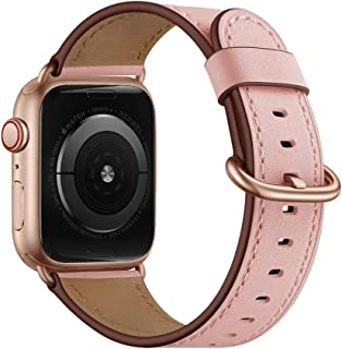 OUHENG Compatible with Apple Watch Band 38mm 40mm, Women Genuine Leather Band Replacement Strap Compatible with iWatch Series 5 4 3 2 1 40mm 38mm, Pink Band + Rose Gold Adapter