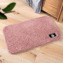 Bathroom Pure Color Velvet Bath Rug Pad Foot Pad Carpet Waterproof Mat Bath Mat-Pink for Kitchen Indoor Rugs Bathroom Mats