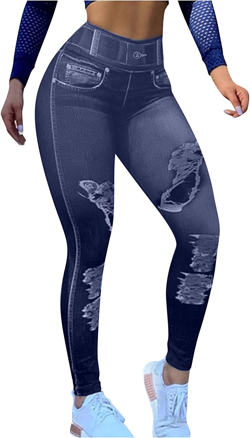 melupa Women Denim Print Fake Jeans Solid Colors Seamless Full Length Leggings Stretch High Waist Jeggings with Pockets