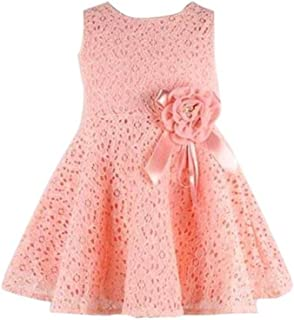 Girls Dress Kids Girl Full Lace Floral Princess Sleeveless One Piece Party Dress Outfits, 0-8 Years Old