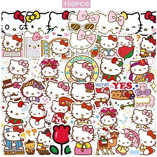 100pcs Hello Kitty Stickers Japanese Sanrio Kawaii Stickers Aesthetic Vinyl Stickers for Water Bottles Skateboard Laptop Waterproof Sticker Packs
