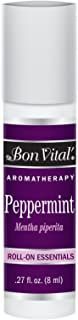 Bon Vital' Aromatherapy Peppermint Roll-On Essential Oil, Pre-Diluted and Ready to Use Aroma Therapy Oil for Perfumes, Oil for Energizing and Revitalizing Sensations, Best Quality Essential Oil, 8 mL
