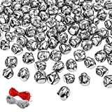168Pcs Jingle Bells 1Inch Silver Christmas Craft Bells for Wreath, Home Festival Decoration