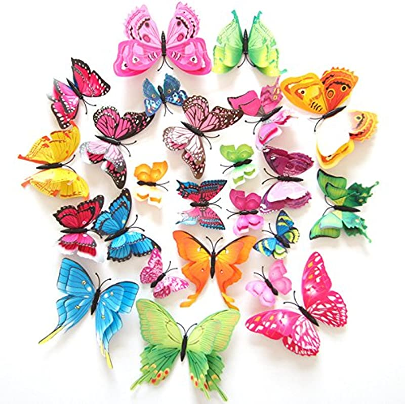 FLY SPRAY Creative 24pcs Vivid Butterfly Special Man Made Colorful Butterflies Decor Double Wings Removable Wall Stickers With Adhesive Decals Nursery Decoration 3D Crafts