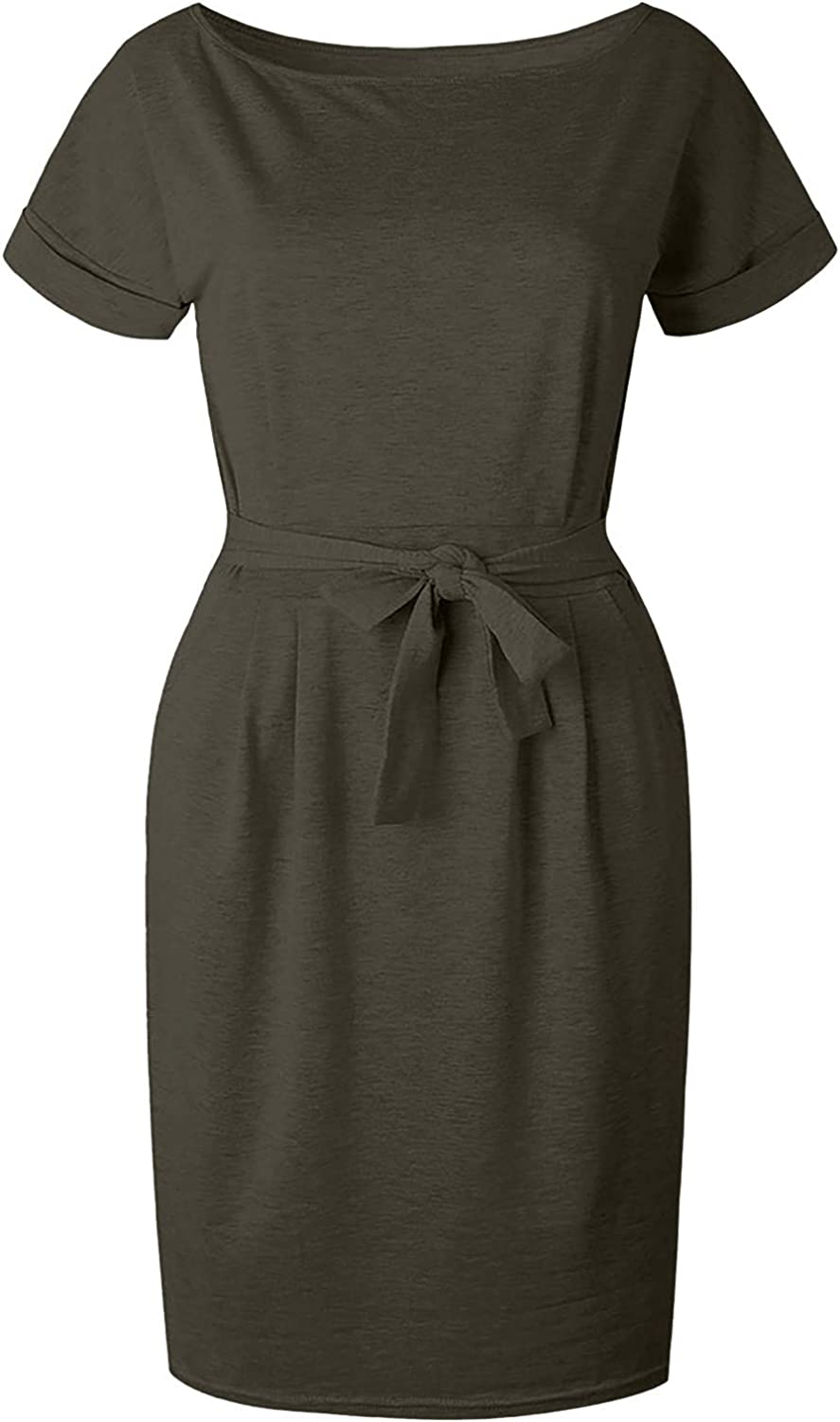 XCeihe Women Casual Dress with Pockets for Summer O-Neck Vneck Short Sleeve Belted Knotted Fashion Slim Midi Dresses
