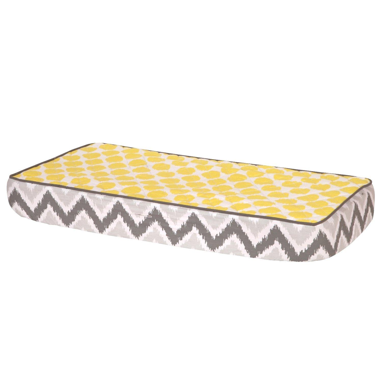 Nippon regular agency Bacati Max 63% OFF Ikat Zigzag Grey Muslin Yellow Dots Pad Cover Changing
