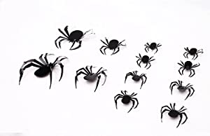 60PCS/3SIZE 3D Spider Sticker, Halloween Party Supplies Reusable Decorative Scary Wall Decal for Home Decor DIY Wall Decal Bathroom Indoor