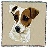 Pure Country Weavers Jack Russell Terrier by Robert May Dog Lap Square Blanket Throw Woven from Cotton - Made in The USA (54x54)