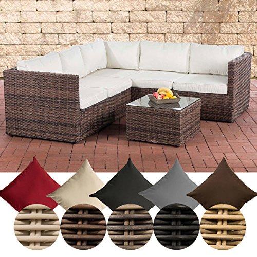 CLP Lounge-Set Liberi 5mm | Polyrattan-Möbelgarnitur | Gartenmöbel-Set mit einem 2er Sofa, einem 3er Sofa und einem Beistelltisch erhältlich Braun Meliert, cremeweiß