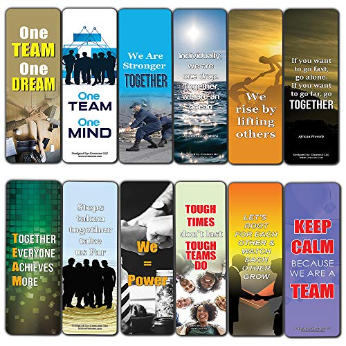 Creanoso Teamwork Bookmarks for Adults (12-Pack) - Awesome Book Markers for Men, Women, Employees, Athletes – Premium Design Gifts for Bookworms – Business Gifts – Sport Incentives