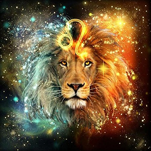 Twuky 5D DIY Diamond Set Full Diamond Diamond Painting Living Room Wall Stickers,lion(12X12inch/30X30CM)
