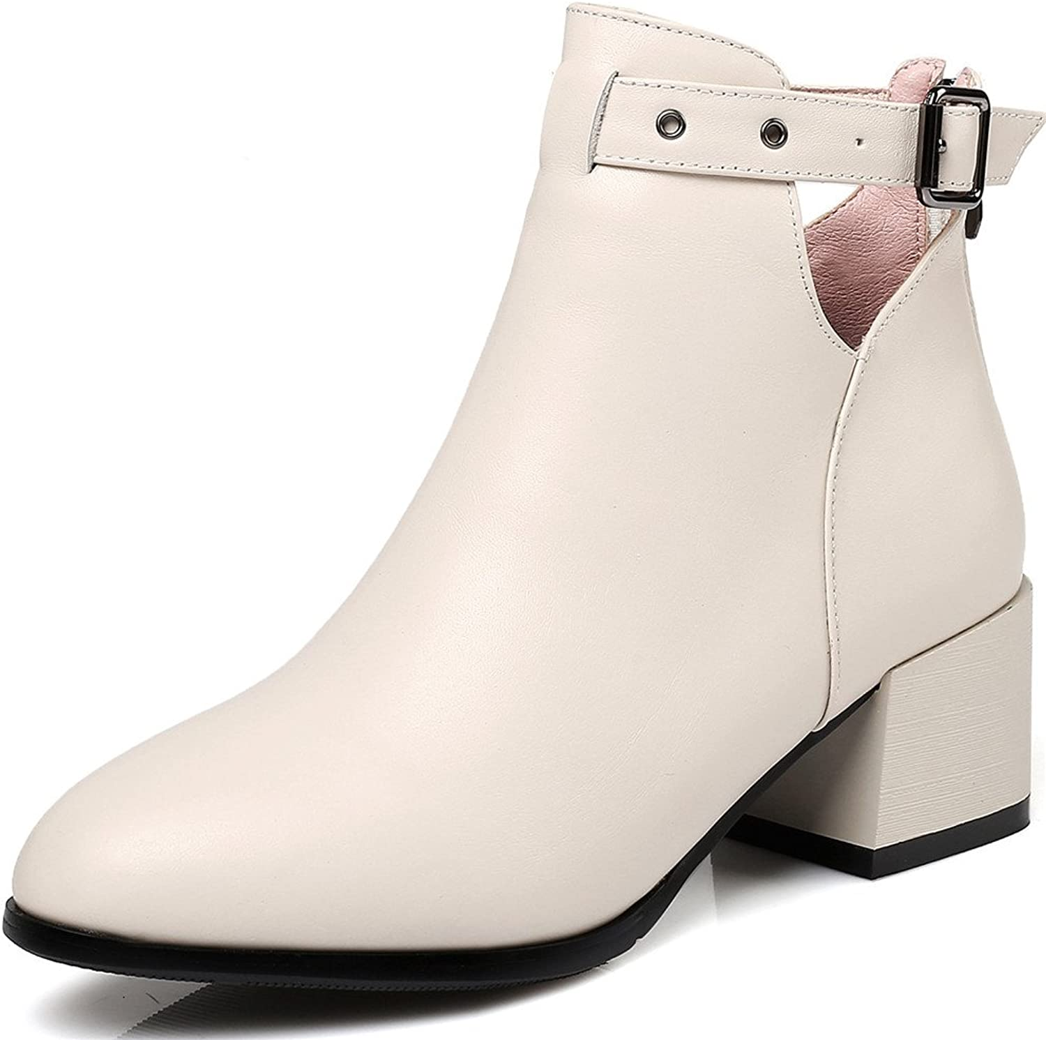 Nine Seven Genuine Leather Women's Pointed Toe Chunky Heel Buckle Zip Slip On Ankle High Handmade Classic Boots New