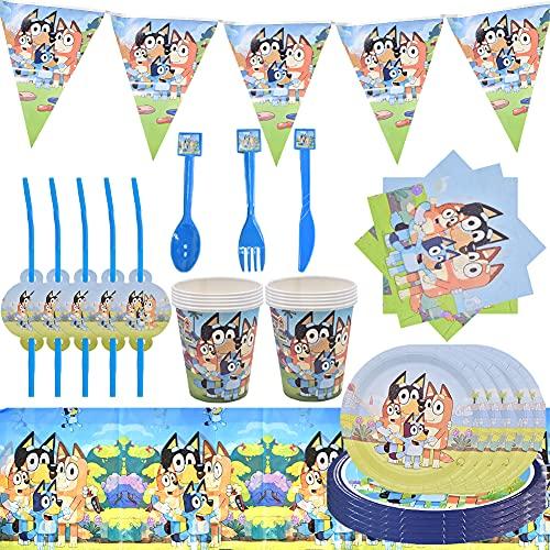 Bluey Juego de Cubiertos Reutilizable, Set de 92 Piezas Plato de Bluey para Fiestas Incluye Pancarta Platos Servilletas Pajas Mantel Cucharas Tenedores para Fiesta Baby Shower
