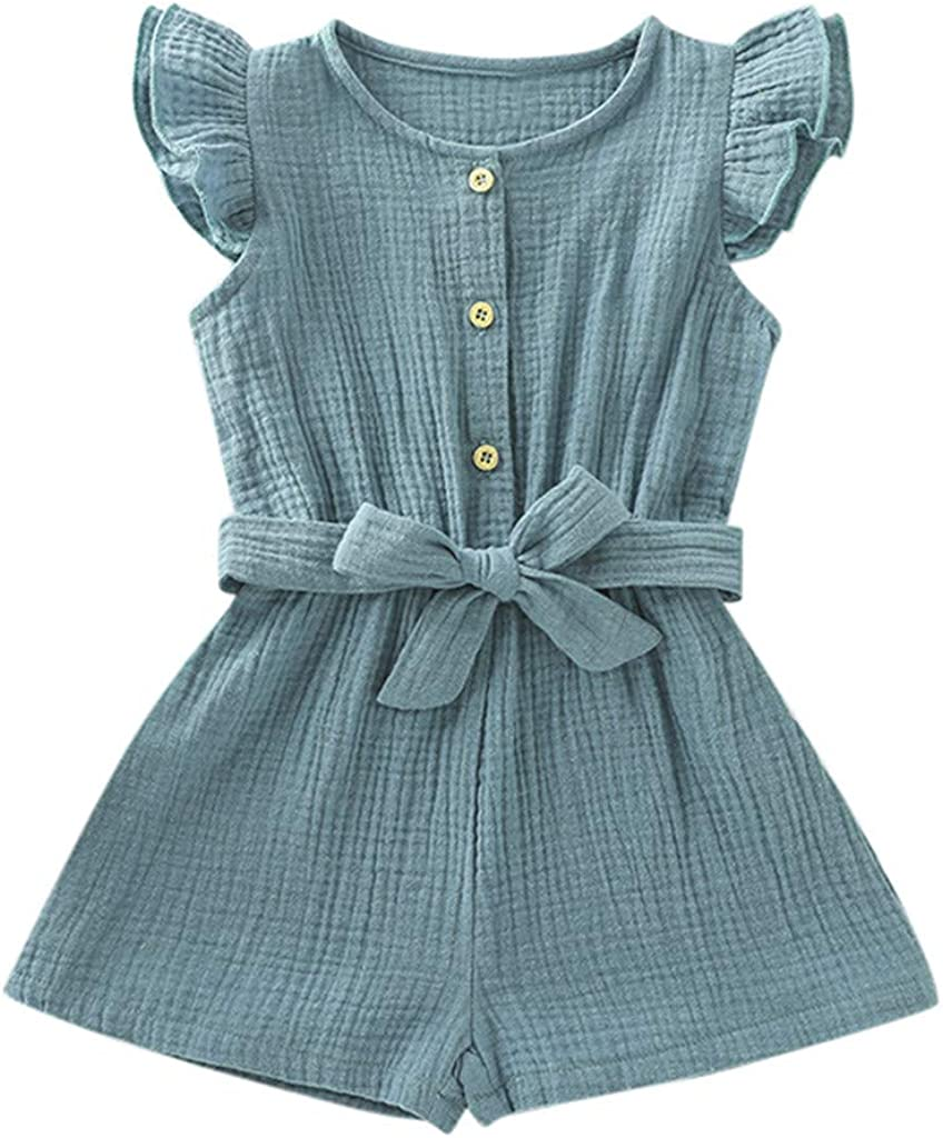 Hongyuangl Sommer Strampler Shorts Baby M/ädchen Body aus Baumwolle und Leinen Einteiler Jumpsuit Shorts Stirnband