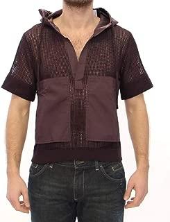 DSORO Brown Fishnet Cotton Hoodie t-Shirt