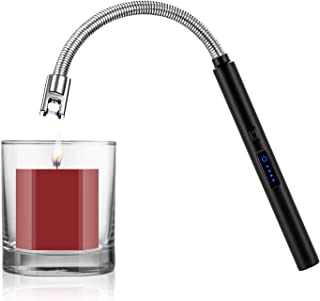 Candle Lighter, Smart USB Arc Lighter with Touch Sensor, 360° Flexible Long Neck and LED Real-Time Battery Capacity, Windproof Suitable for Lighting in Candle Fireworks Fireplace Barbecue Camping