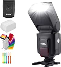 Godox Wireless 433MHz GN33 Camera Flash Speedlite with Built-in Receiver with RT Transmitter Compatible for Canon Nikon Sony Olympus Pentax Fuji DSLR Cameras with Diffuser + Filters + USB LED