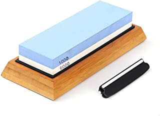 Angerstone Premium Knife Sharpening Stone�1000/6000 Grit Whetstone, Professional whetstone Sharpener stone with Slip-Resistant Silicone Base|Best wet stone|Nonslip Bamboo Base & Angle Guide