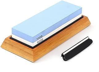 Premium Whetstone(White Corundum) 2 Sided Grit 1000/6000(Kitchen Blade Sharpening Stone with Slip-Resistant Silicone Base)|Best Knife Sharpener|Nonslip Bamboo Base & Angle Guide