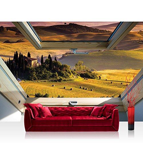 Fototapete 254x184cm PREMIUM Wand Foto Tapete Wand Bild Papiertapete - Landschaft Tapete Hügel Felder mediterran Abend Fenster natural - no. 3320