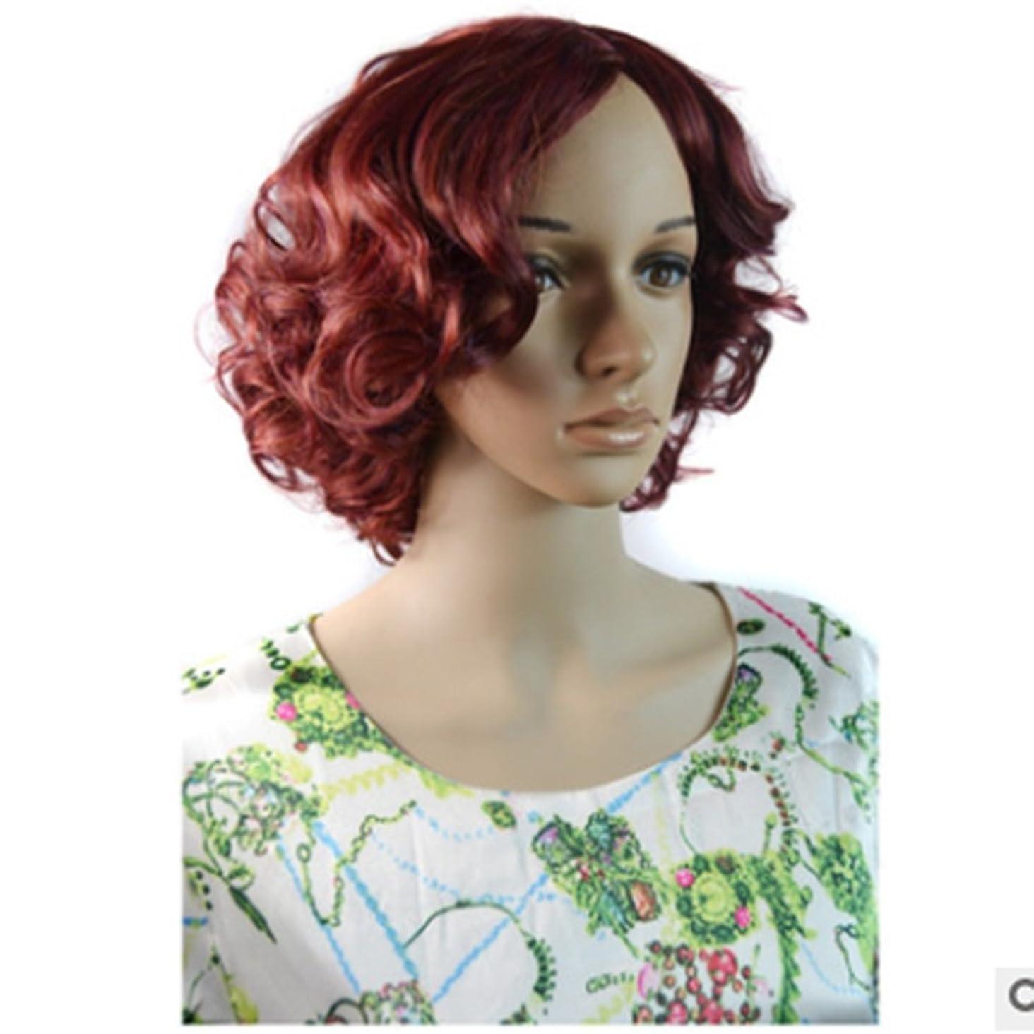風刺ラベンダー襟Doyvanntgo 40cm女性のかつら短髪と職場気質のためのカーリーヘア調整可能なサイズのローズネット (Color : Wine)