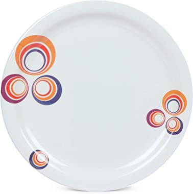 Golden Fish Rose-Marry Melamine Round Quarter Dinner Plates (Pack of 6, 7 Inches, Leaves Print) (RM-QP-5-6)