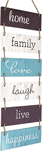 Excello Global Products Large Hanging Wall Sign: Rustic Wooden Decor (Home, Family, Love, Laugh, Live, Happiness) Han...
